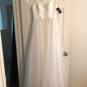 White tulle wedding gown